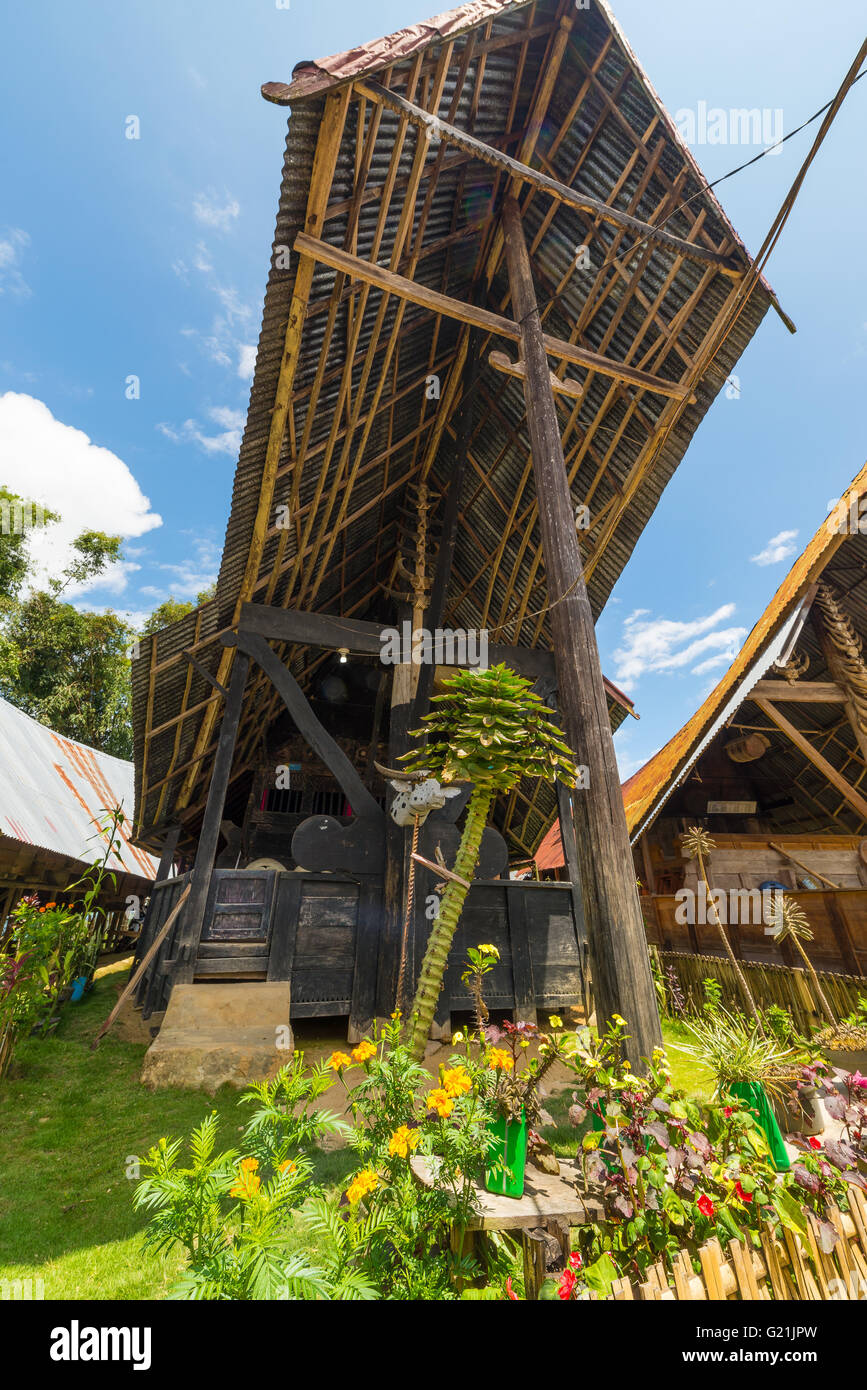 Outstanding and unique local architecture, wooden buildings with boat shaped rooftop and traditional decoration, Stock Photo