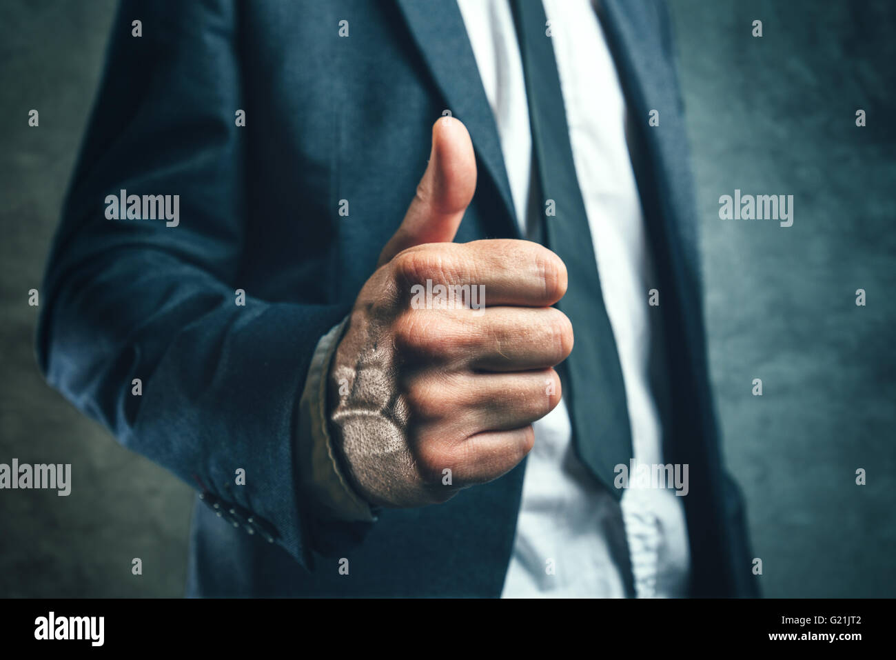 Gaining bosses approval, businessperson gesturing thumb up for endorsing or approving employees work, concept of - Stock Image