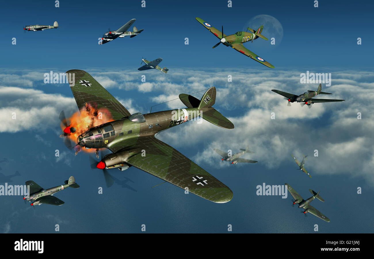 The Battle Of Britain . Hawker Hurricanes Of The RAF, Attacking Nazi German Heinkel He 111 Medium Bombers. - Stock Image