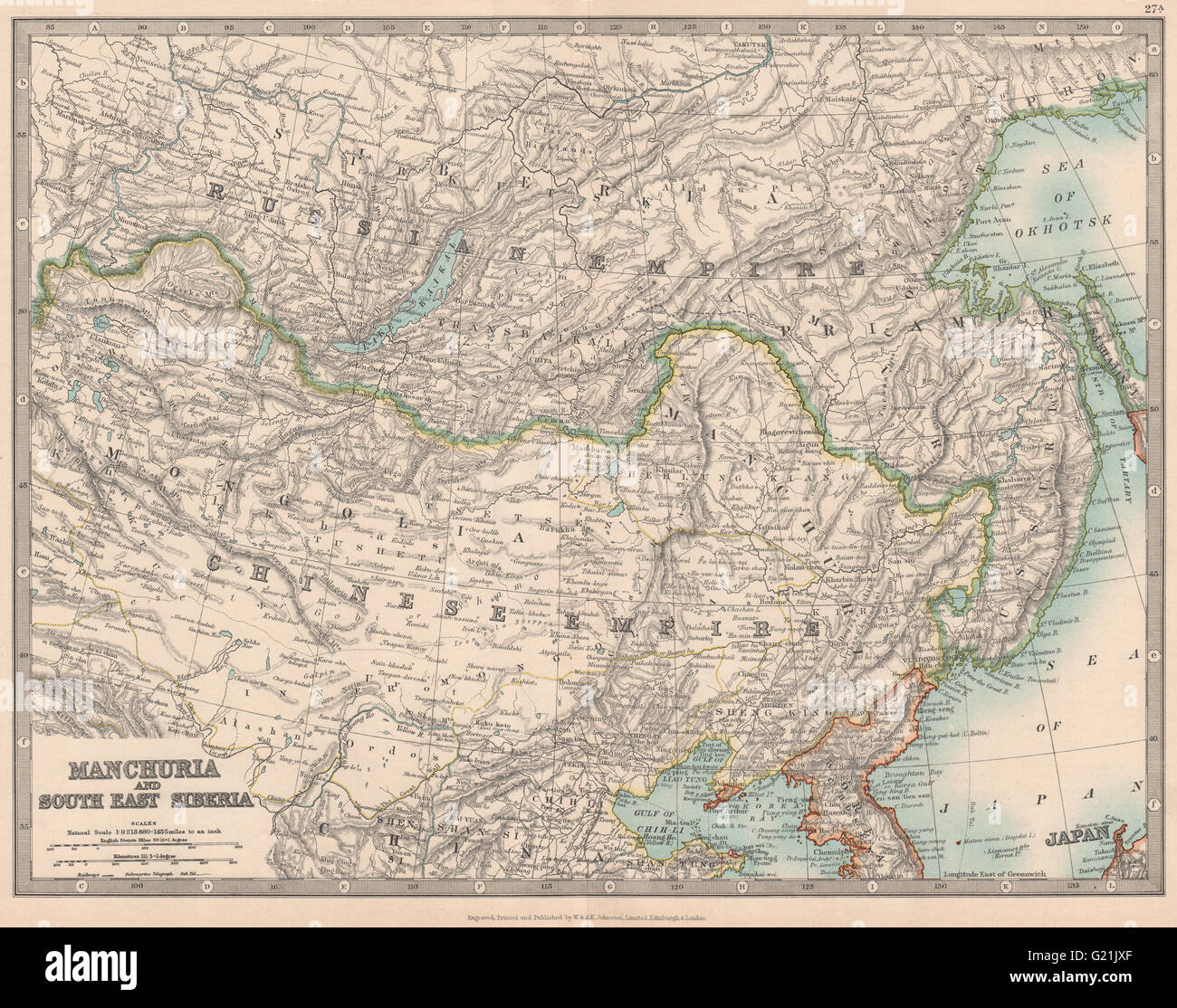 MANCHURIA U0026 SOUTH EAST SIBERIA Mongolia China Russia East Asia JOHNSTON  1912 Map   Stock Image