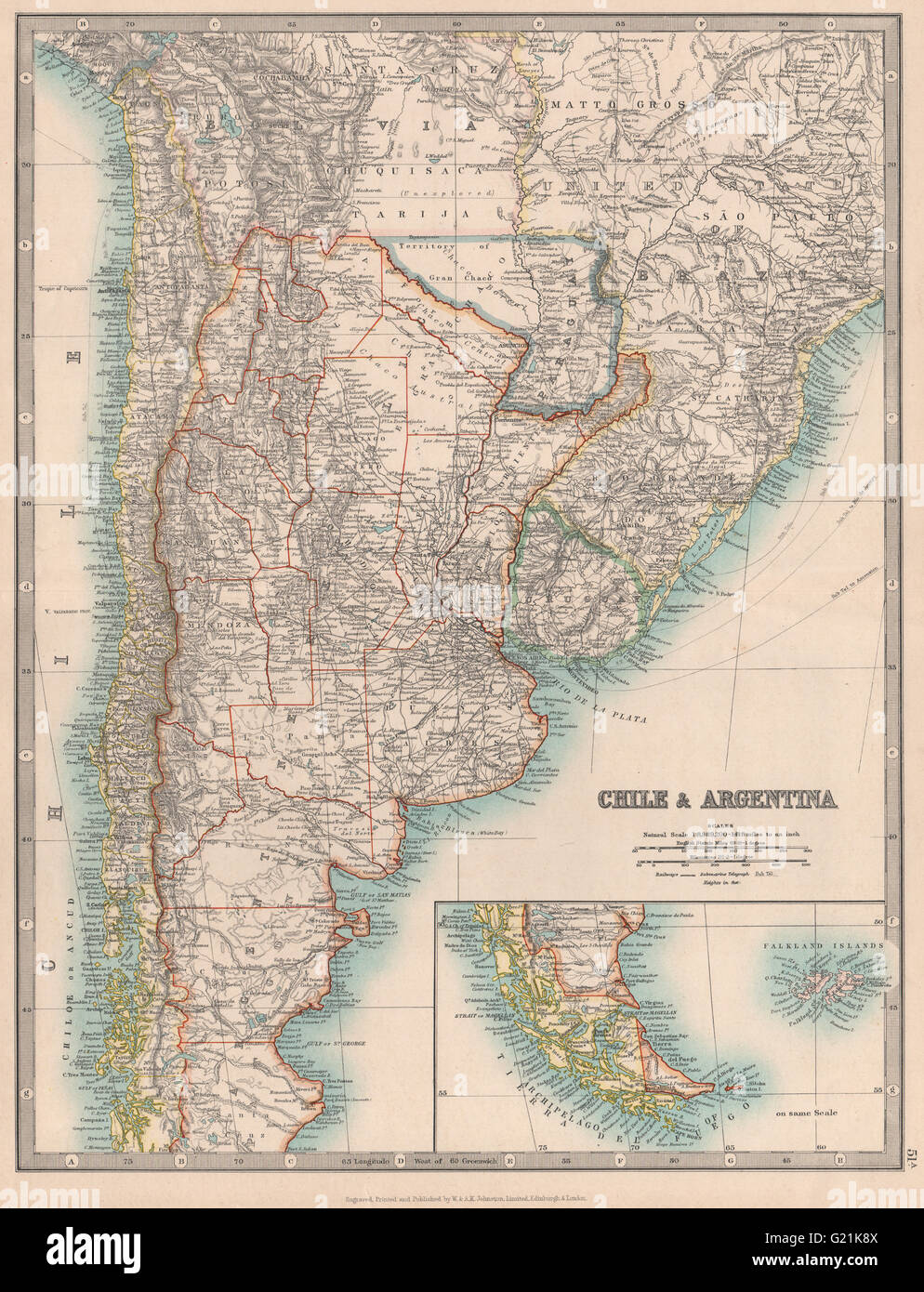 Chaco map stock photos chaco map stock images alamy chile argentina paraguay including gran chaco uruguay johnston 1912 map gumiabroncs Image collections