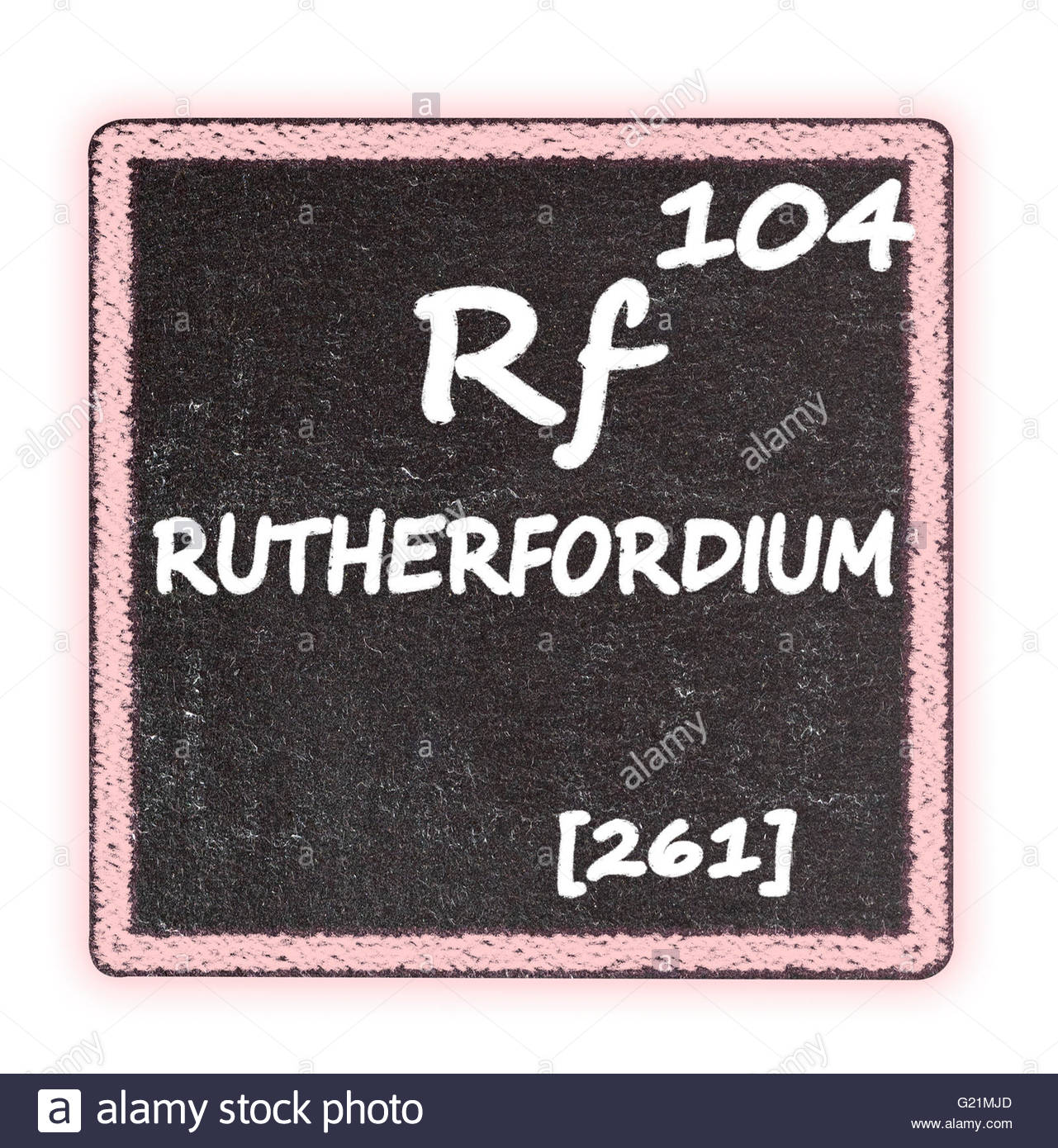 Ruther­fordium  - details from the periodic table Stock Photo