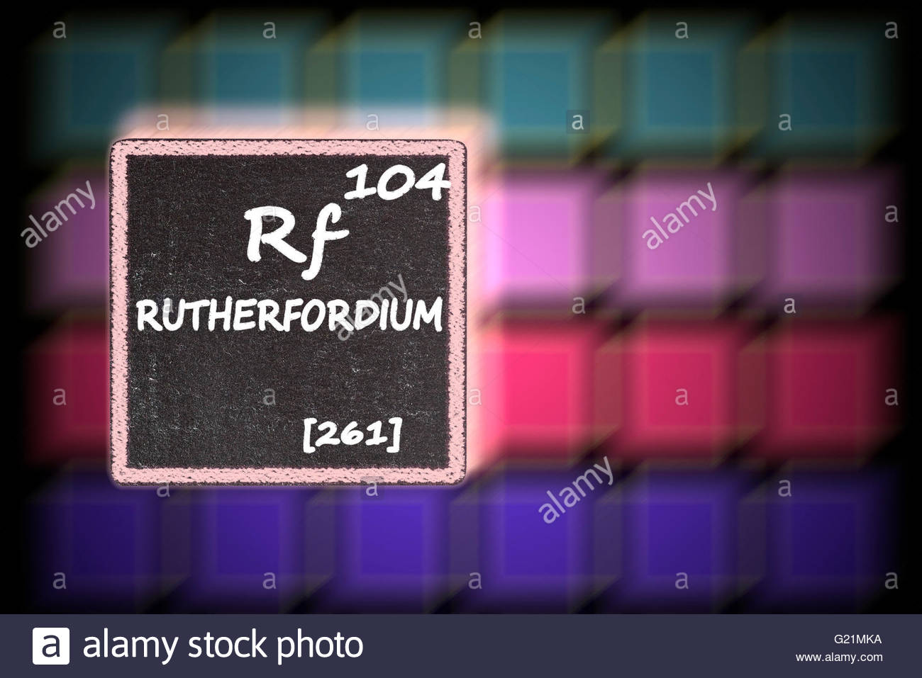 Rutherfordium  - details from the periodic table Stock Photo