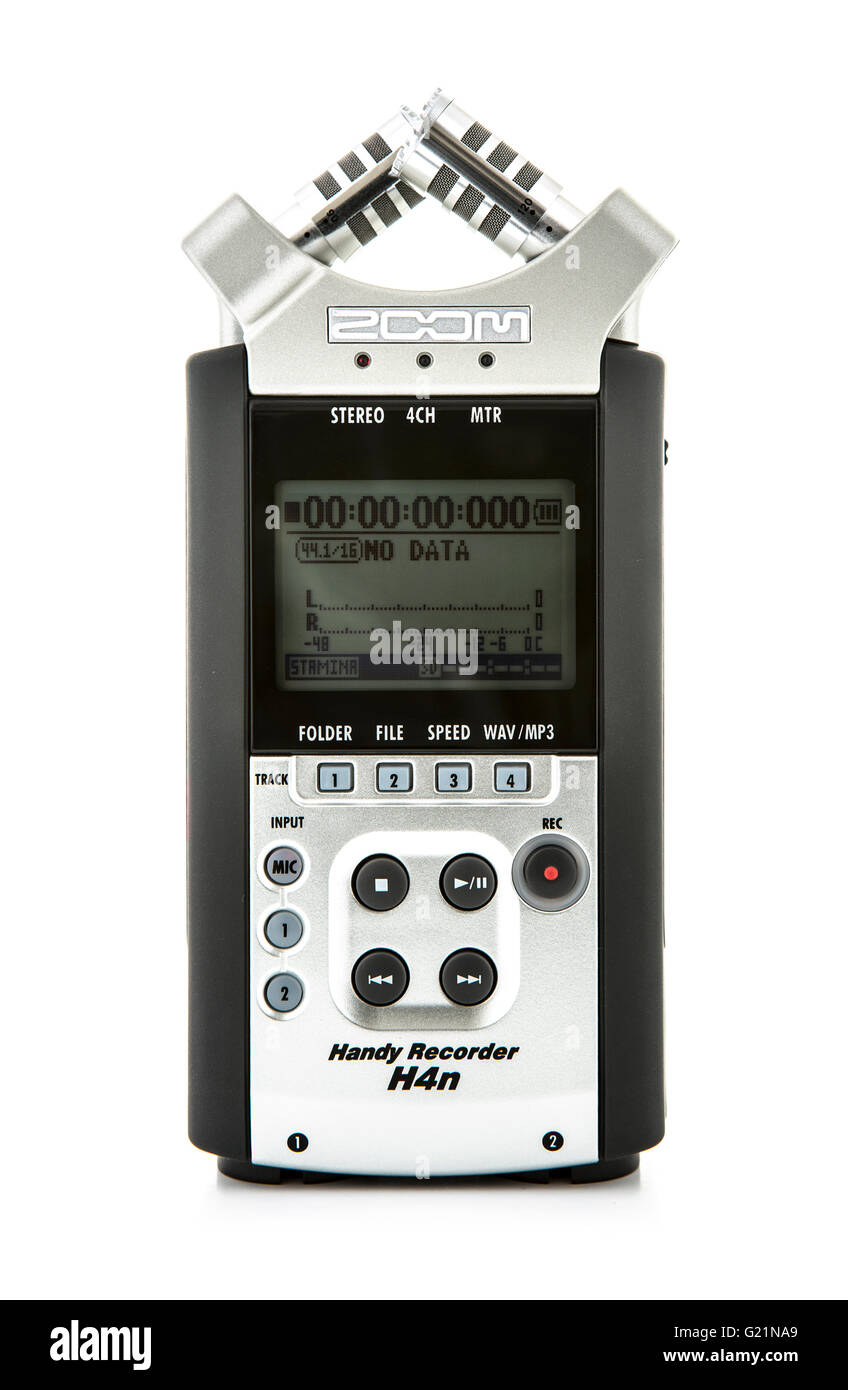 Zoom H4 digital audio recorder on a white background - Stock Image