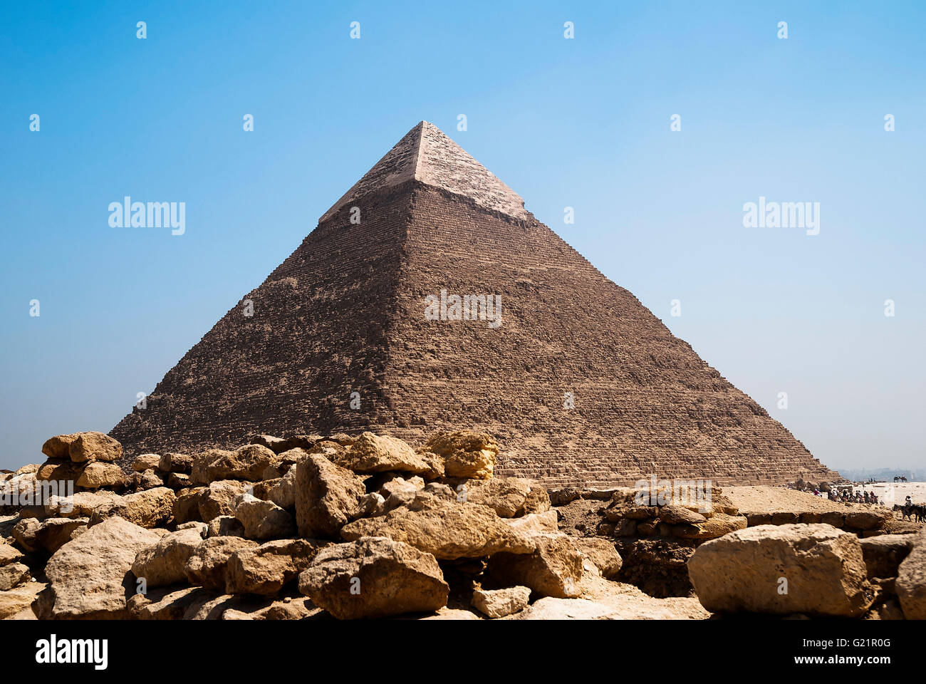 image of the great pyramids of Giza in Egypt - Stock Image