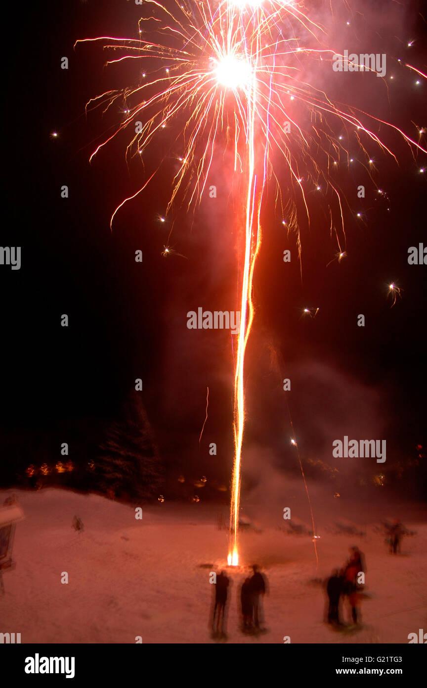 Feuerwerk, Nove Mesto, Tschechische Republik. - Stock Image