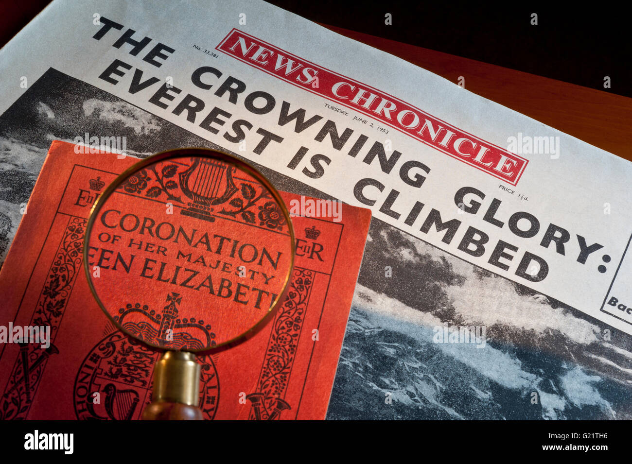 June 2nd 1953 Newspaper headline Everest climbed and Queen Elizabeth 2nd Coronation service book both on same day - Stock Image