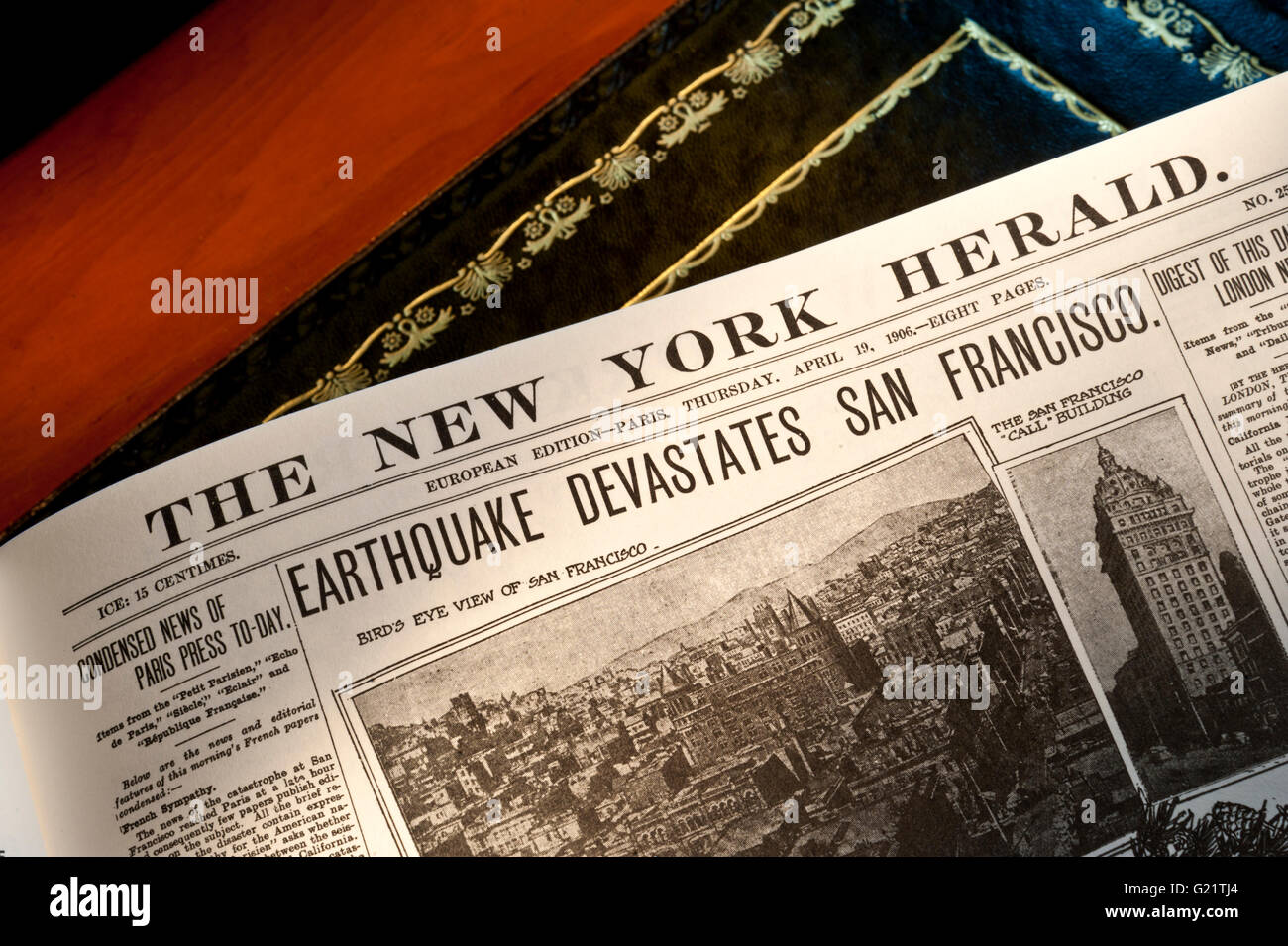 The New York Herald headline featuring the April 19th 1906 San Francisco earthquake and subsequent fire - Stock Image