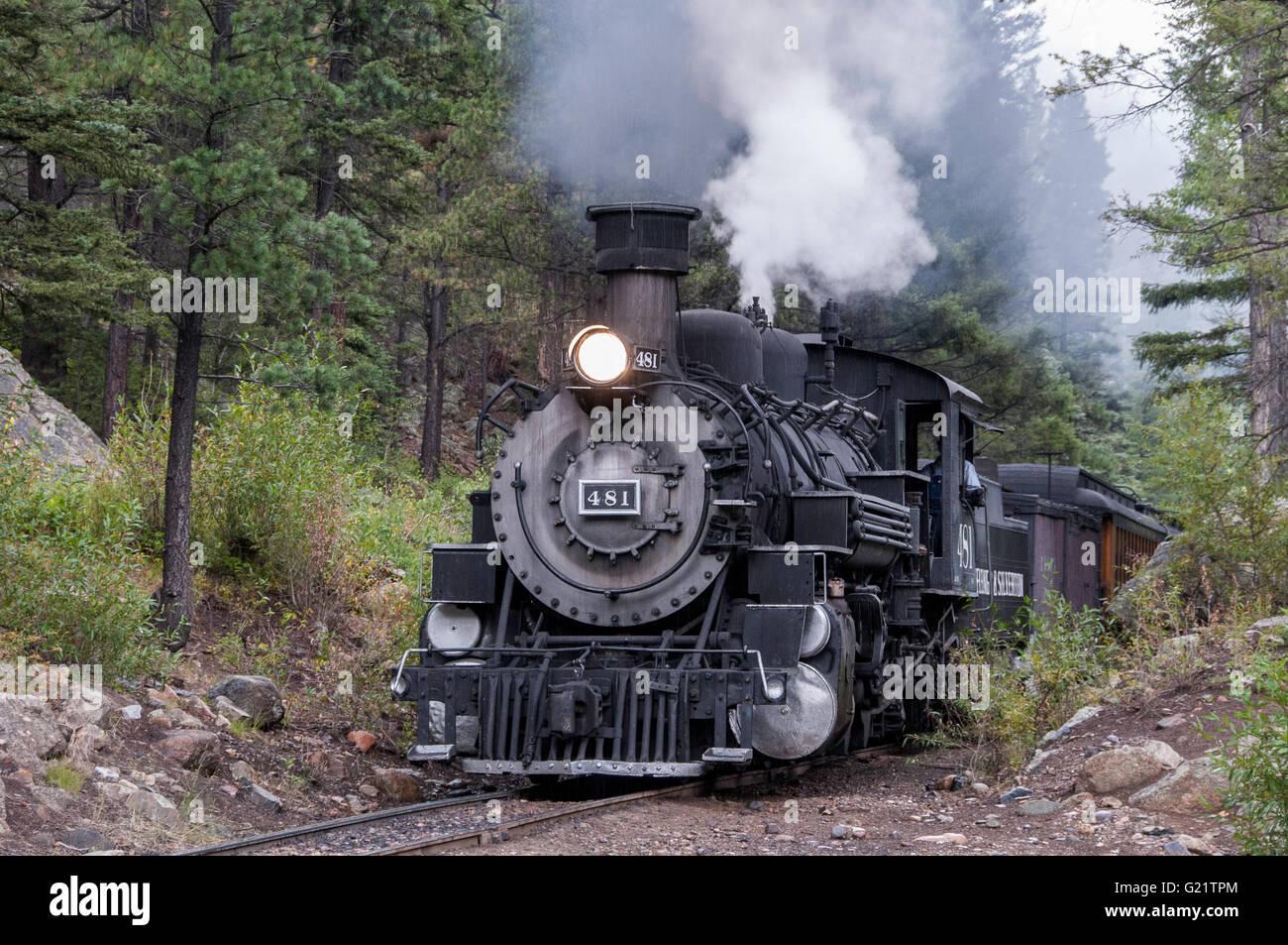 Locomotive 481, Durango & Silverton Narrow Gauge Railroad, Needleton, San Juan National Forest, Colorado. - Stock Image