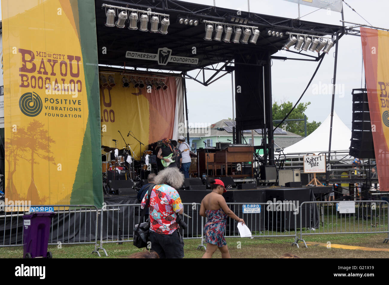 Bayou Boogaloo festival stage, New Orleans, LA. - Stock Image
