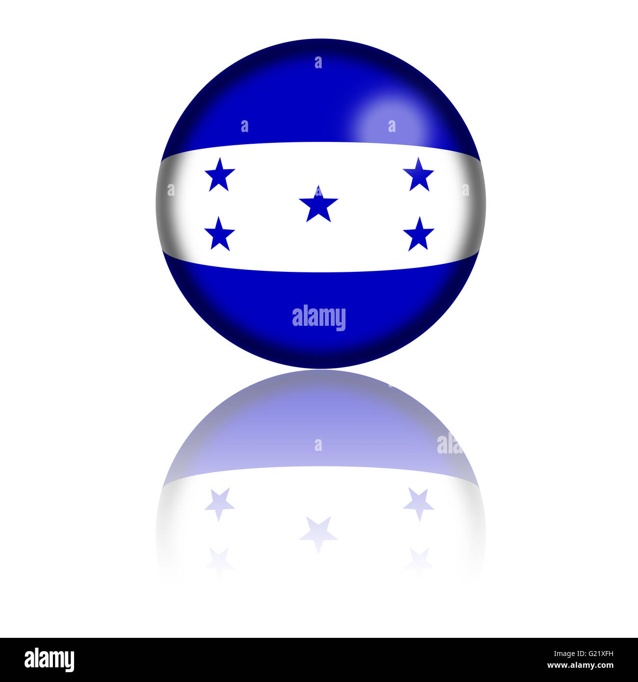 3D sphere or badge of Honduras flag with reflection at bottom. Stock Photo