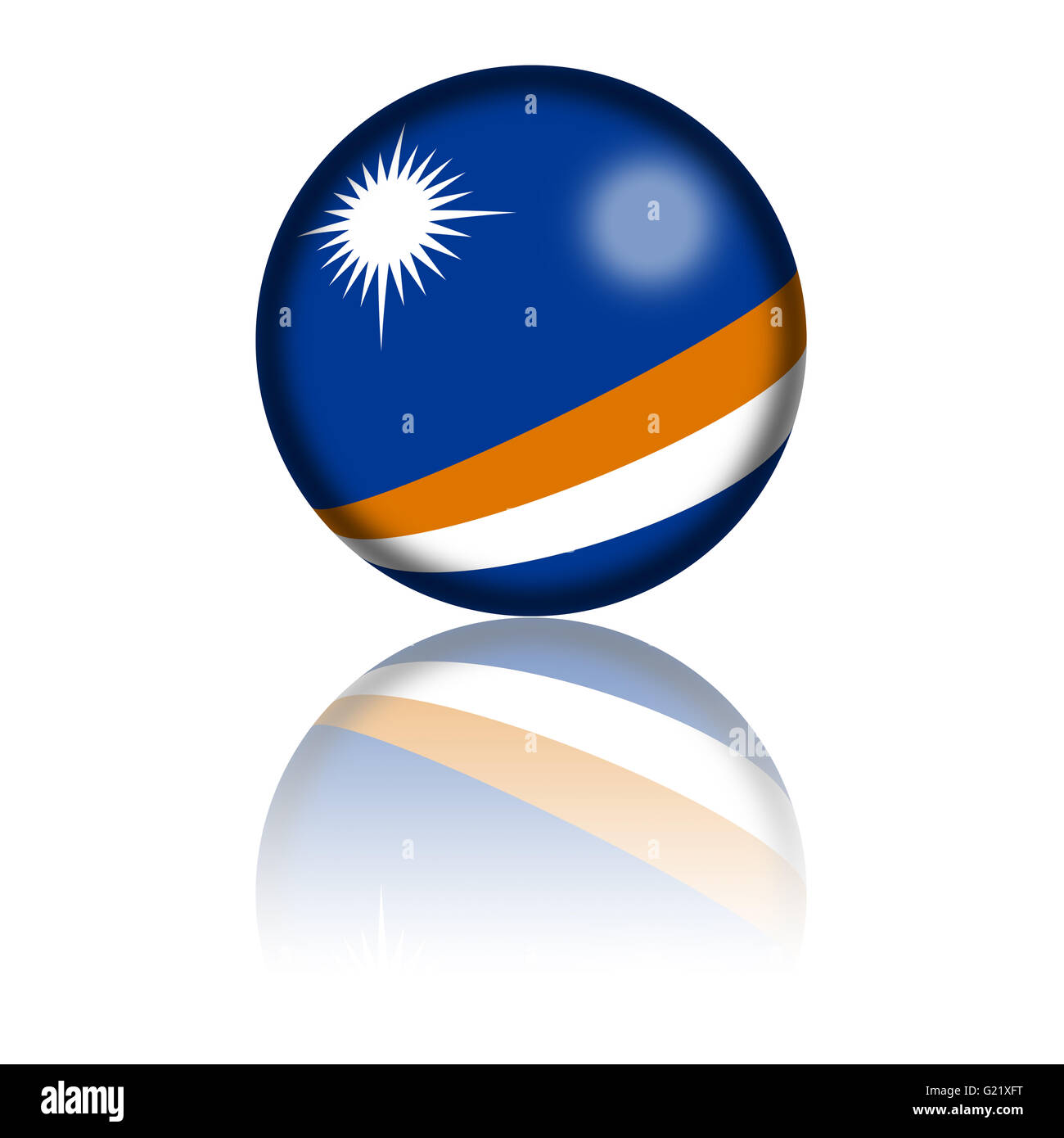 3D sphere or badge of Marshall Islands flag with reflection at bottom. - Stock Image