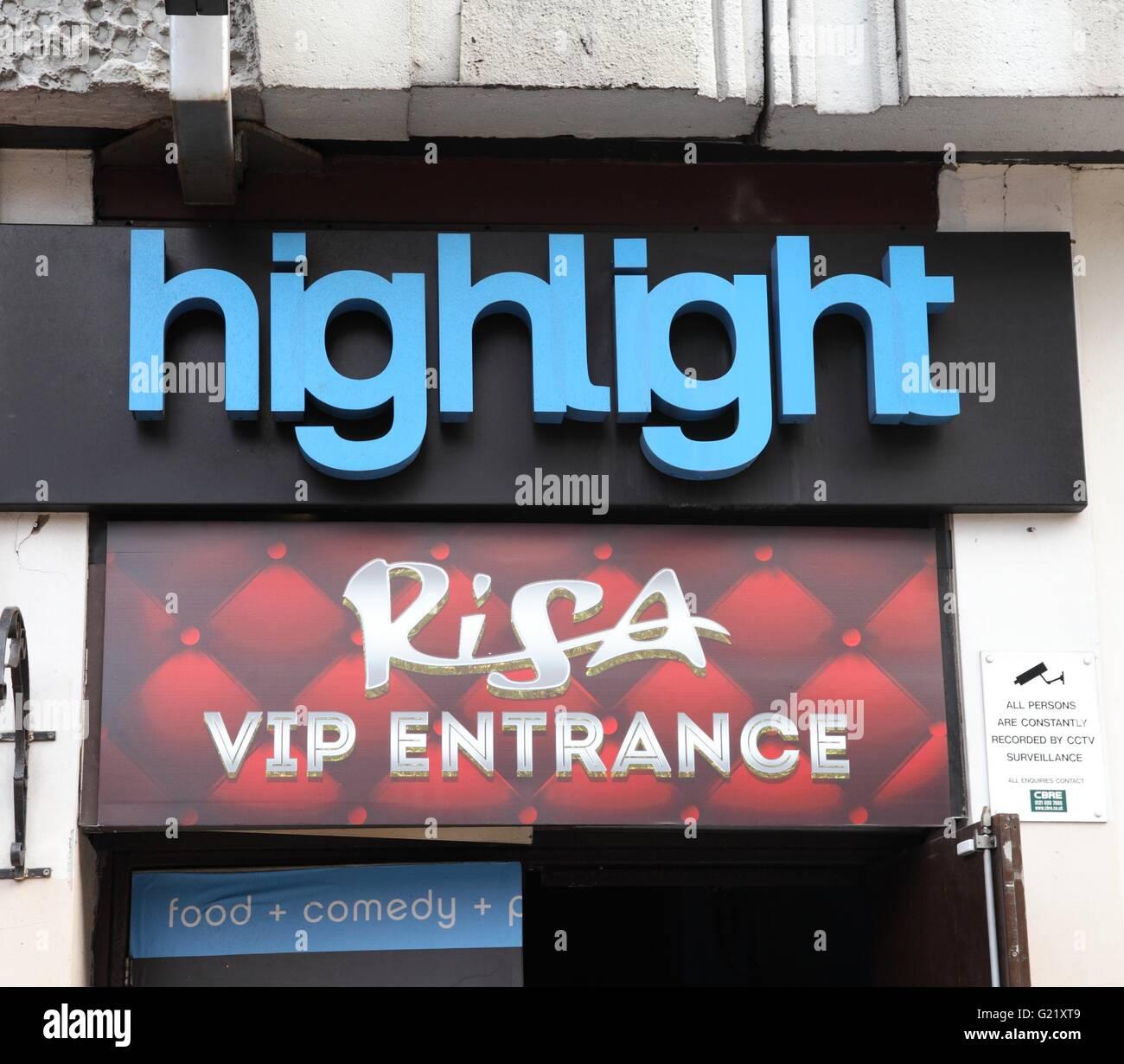 Risa Highlight bar, comedy club, on Broad Street, Birmingham - Stock Image