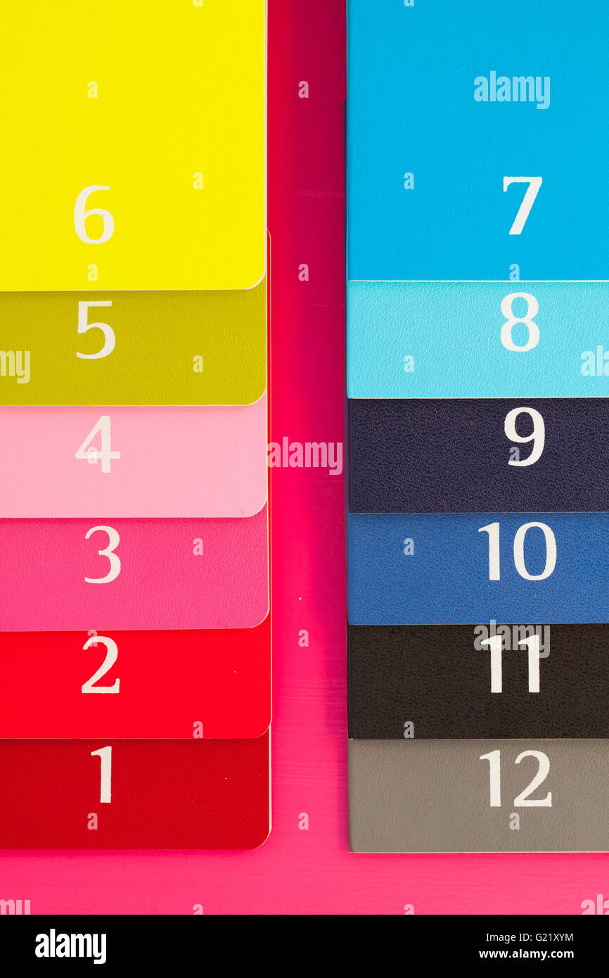 Twelve different color diaries on a pink wooden table - Stock Image