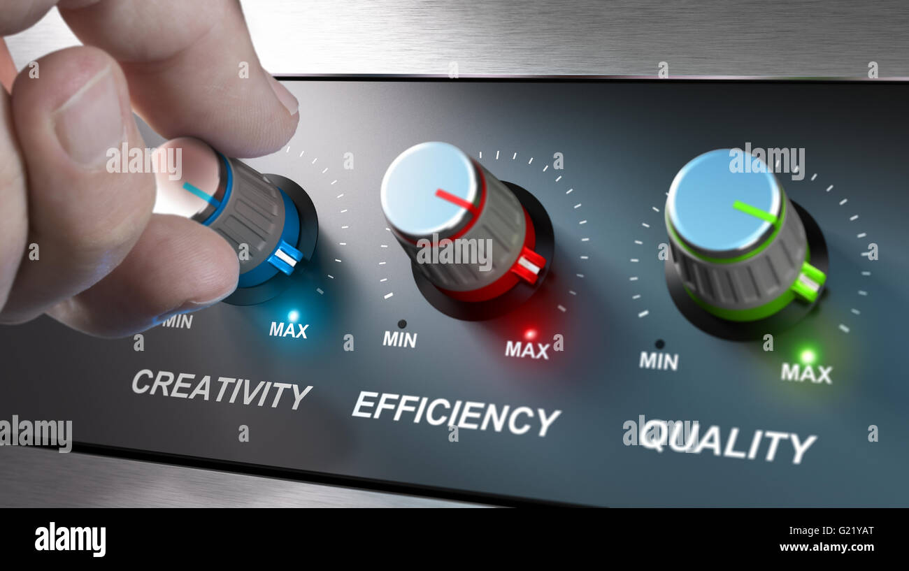 Hand turning knobs where it is written the words creativity, quality and efficiency. Concept for communication on - Stock Image