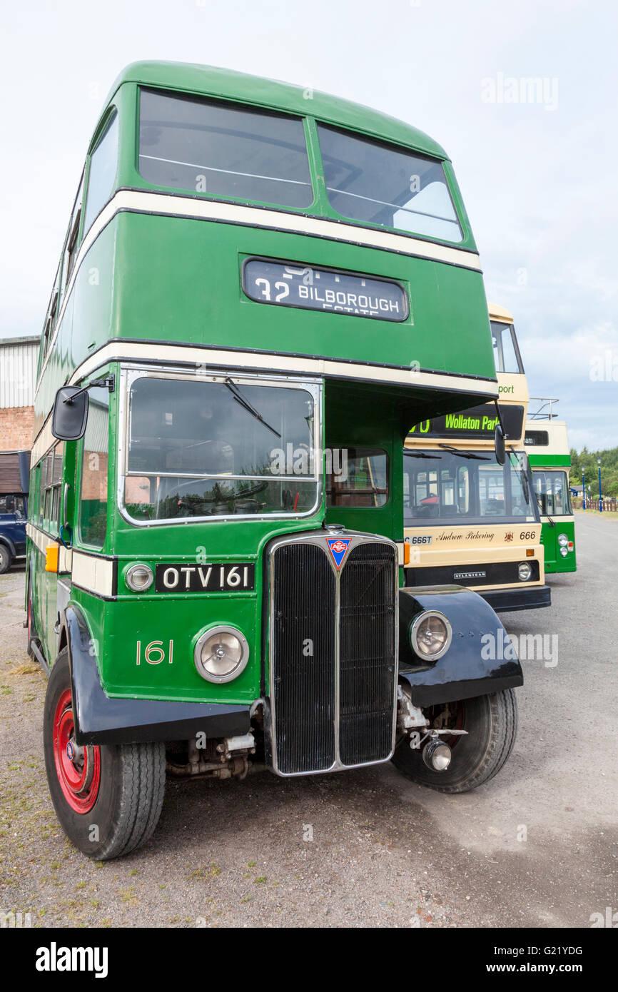 Vintage buses. An old AEC Regent III double decker bus at the Nottingham Transport Heritage Centre, Ruddington, - Stock Image