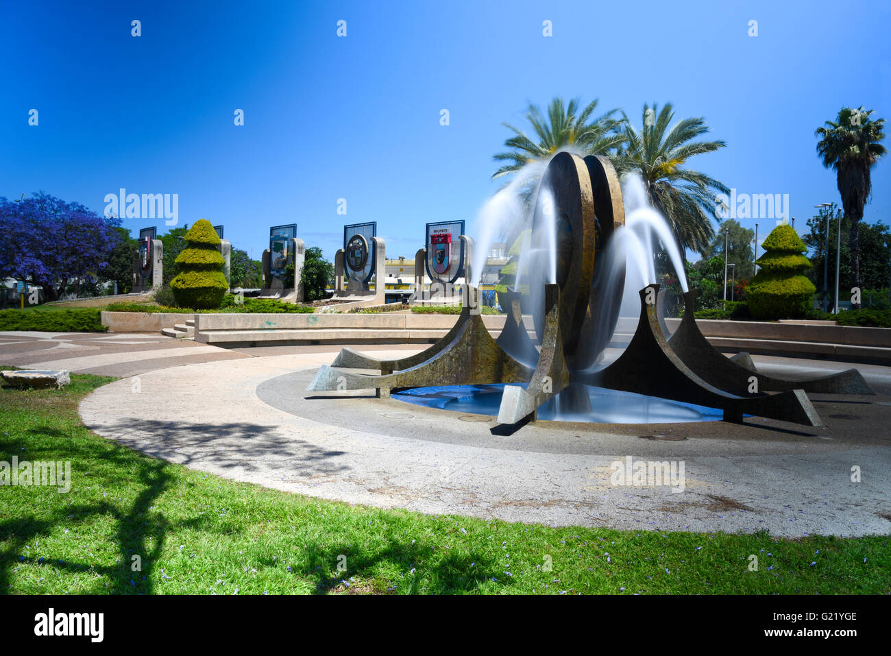 A fountain at twin towns park, Holon, Israel - Stock Image