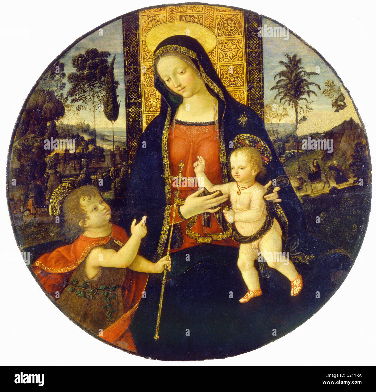 Bernardino di Betto called Il Pinturicchio and workshop - The Virgin and Child with the Infant Saint John  - Museo - Stock Image