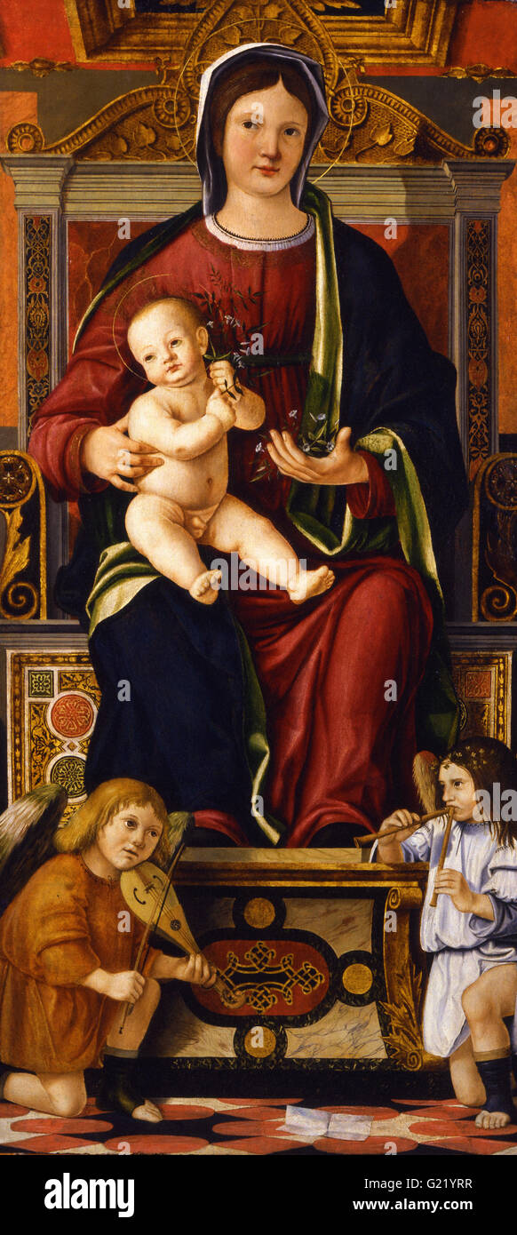Cristoforo Caselli - The Virgin and Child Enthroned with Two Musician Angels  - Museo Poldi Pezzoli - Stock Image