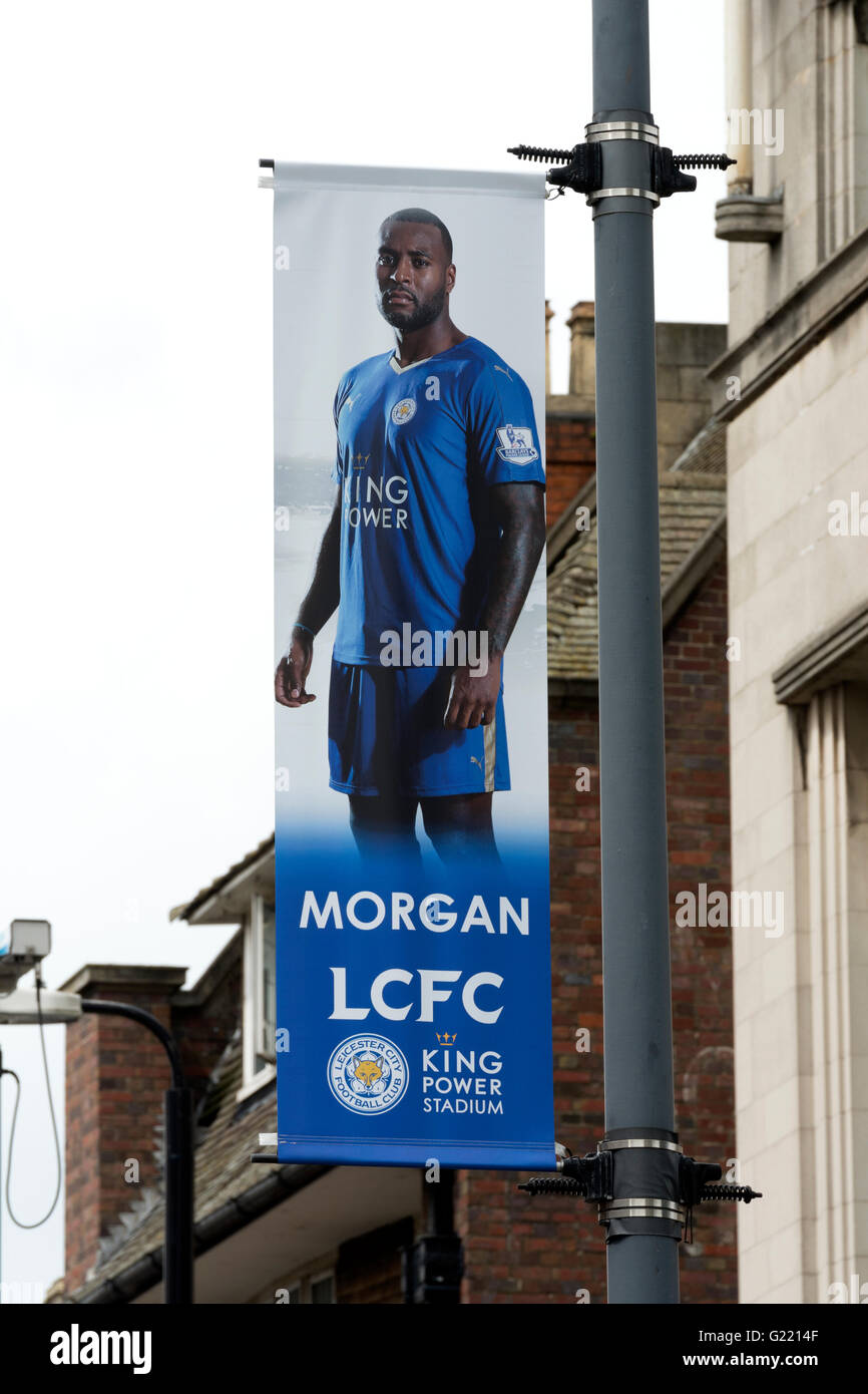 Leicester City Football Club player banner, Wes Morgan, Leicester city centre, UK - Stock Image