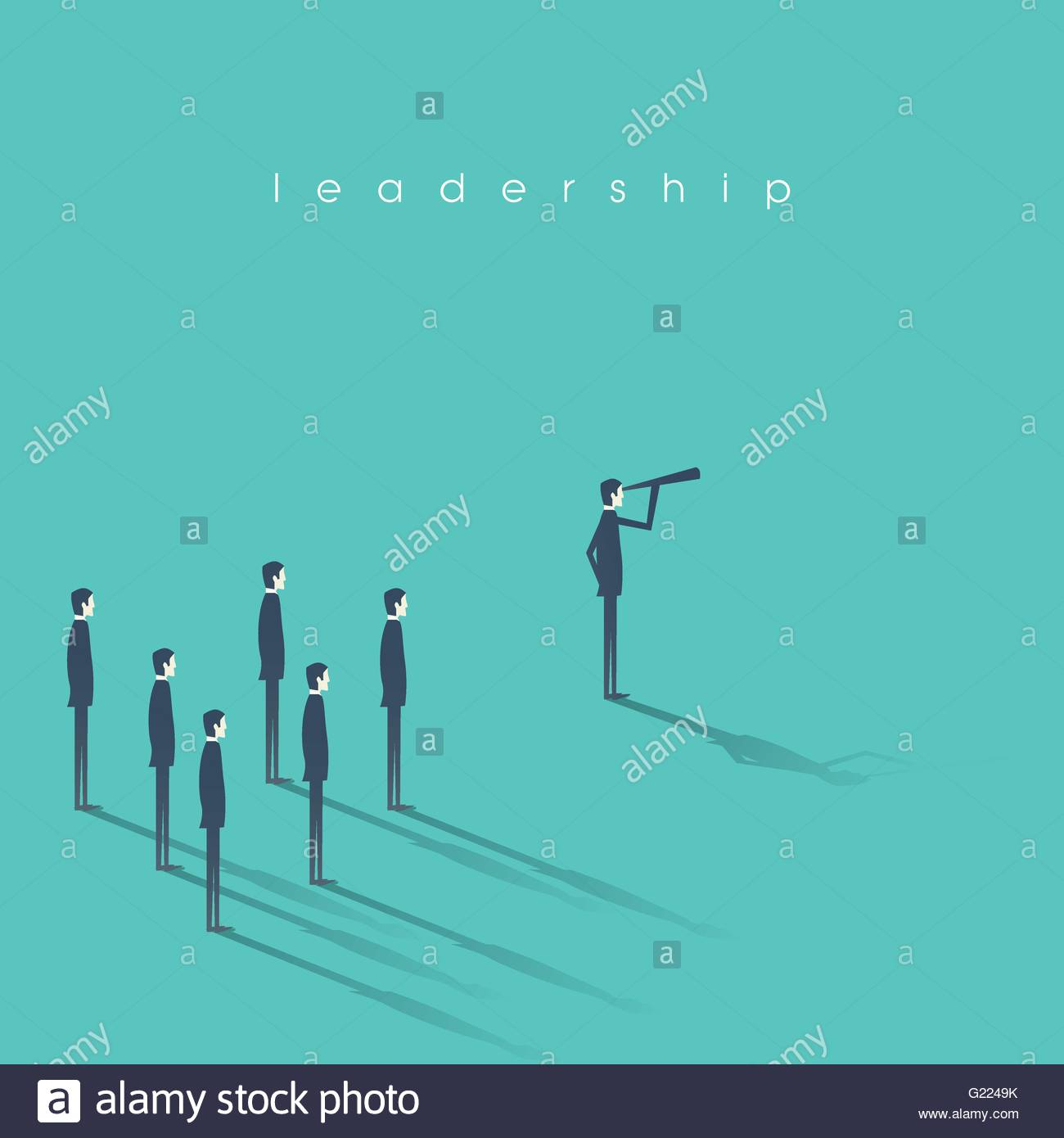 Business leadership concept illustration with businessman and telescope leading other men. Vision, success abstract - Stock Image