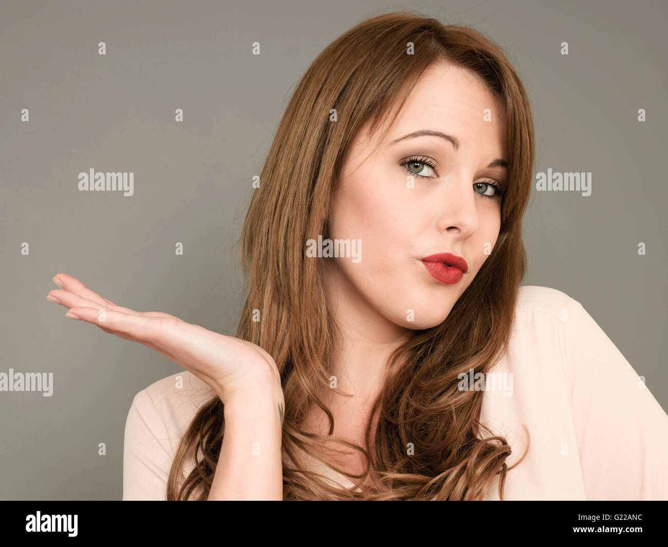 Portrait of a Woman Discussing or Arguing a Point or Opinion in Perhaps a Political or Public Debate - Stock Image