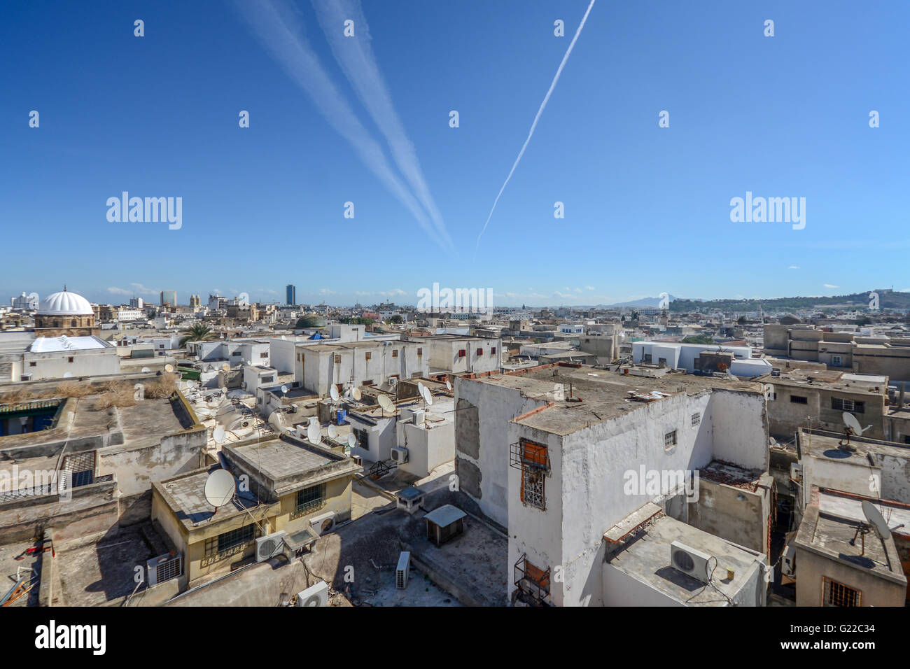 aerial view of historic city of Tunis, Tunisia. - Stock Image