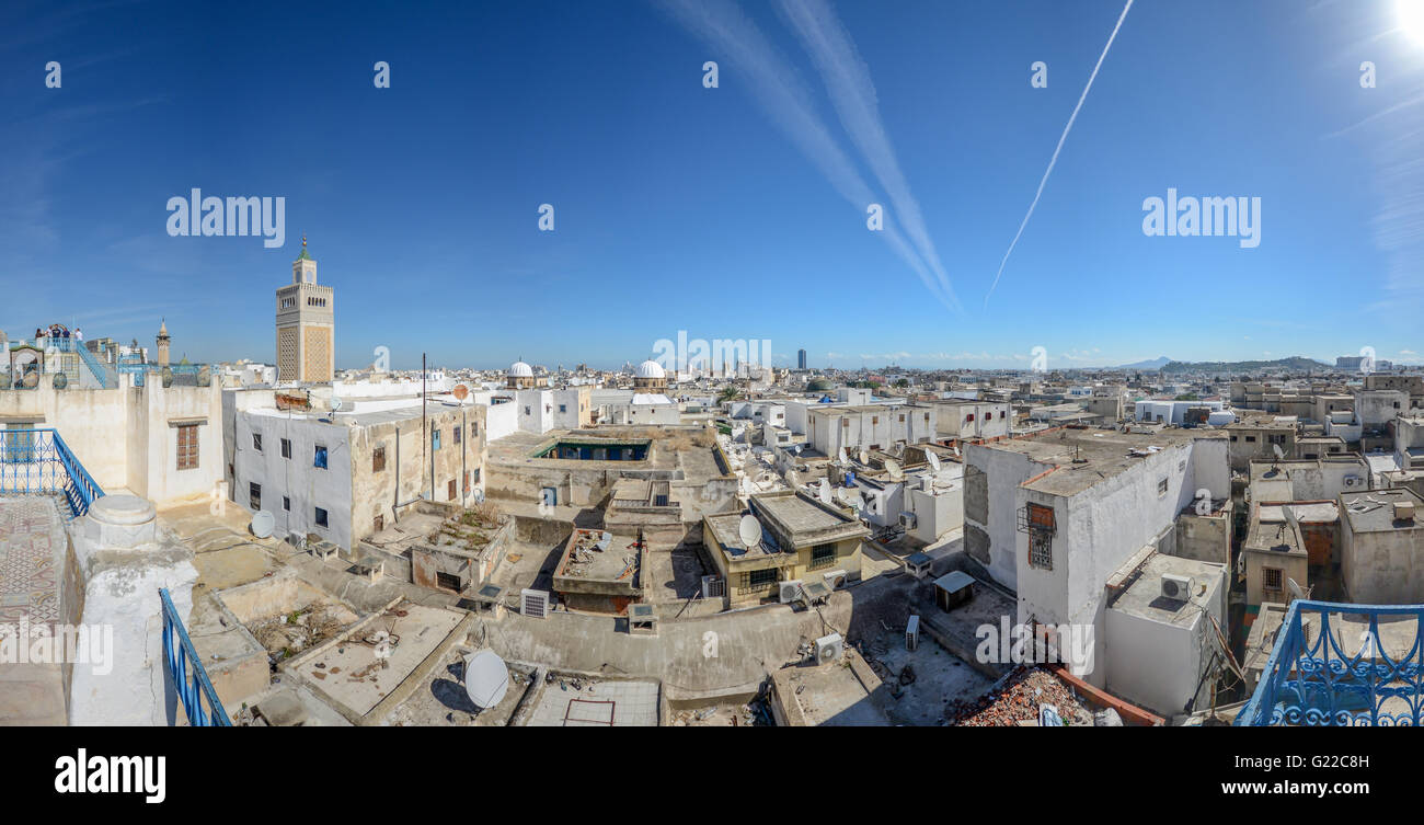 aerial view of Tunis Medina with the high minaret of the Great Mosque, Tunisia. - Stock Image