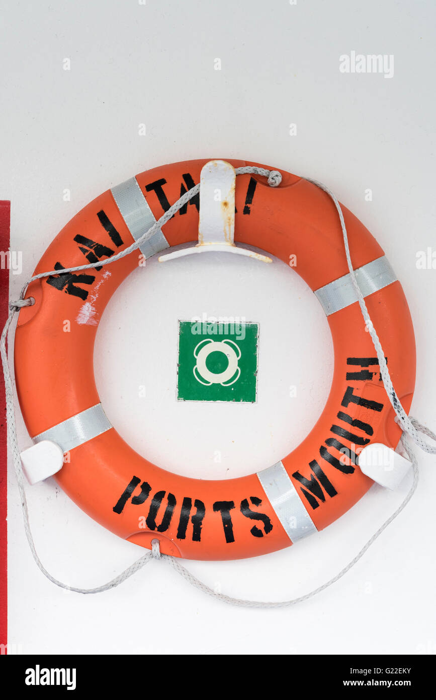 Life saver ring on the InterIslander ferry between Wellington and Picton, New Zealand. - Stock Image