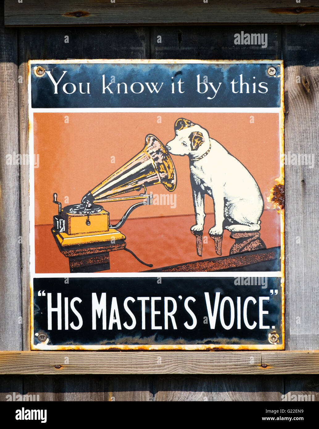 A vintage ' His Masters Voice ' promotional poster - Stock Image