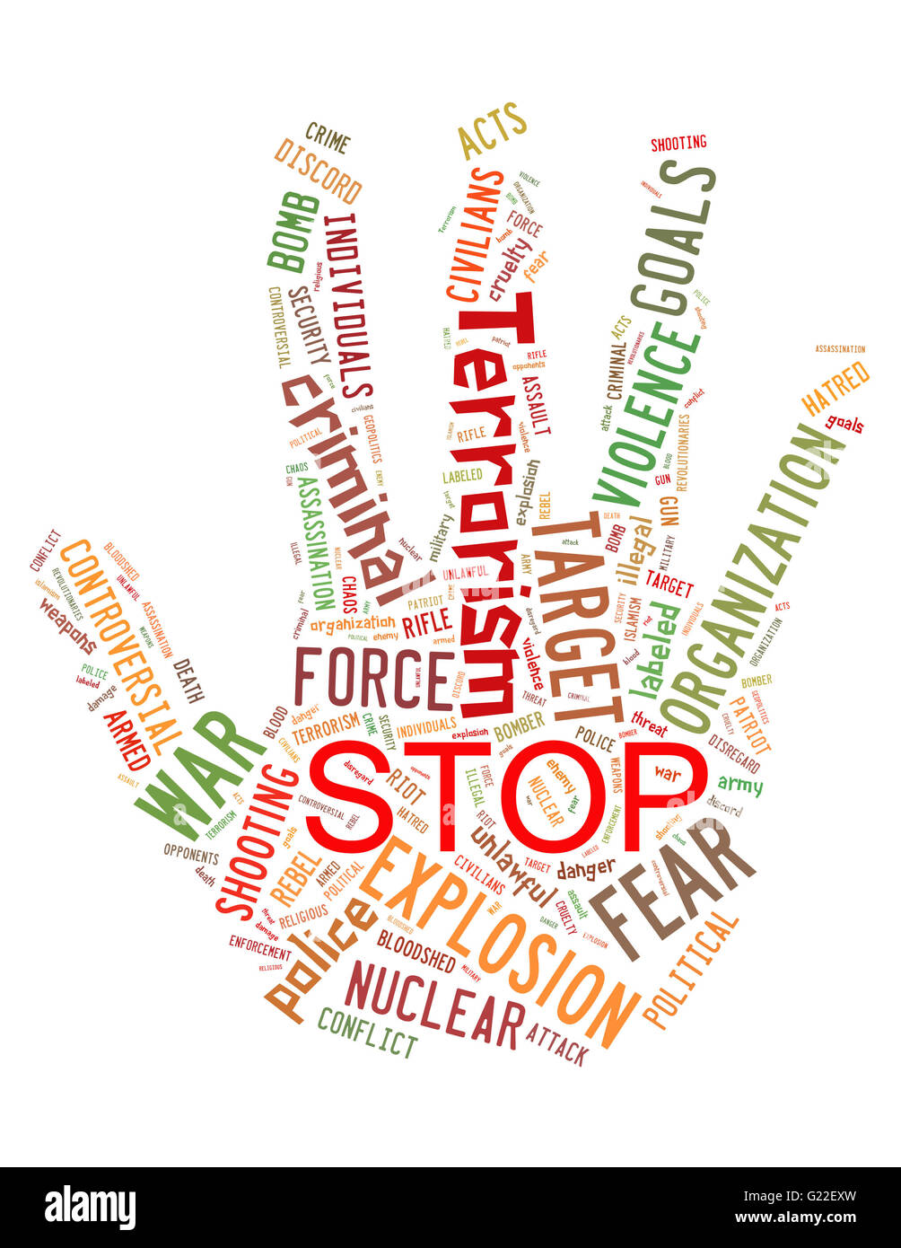 Stop Terrorism, Stop War, Stop Violence, word cloud concept on white background. - Stock Image