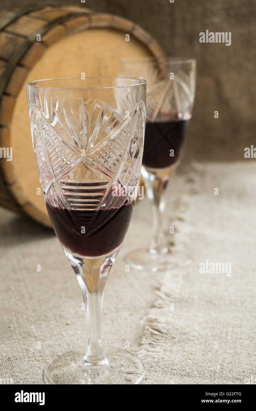 Octave, wineglass are on sacking - Stock Image