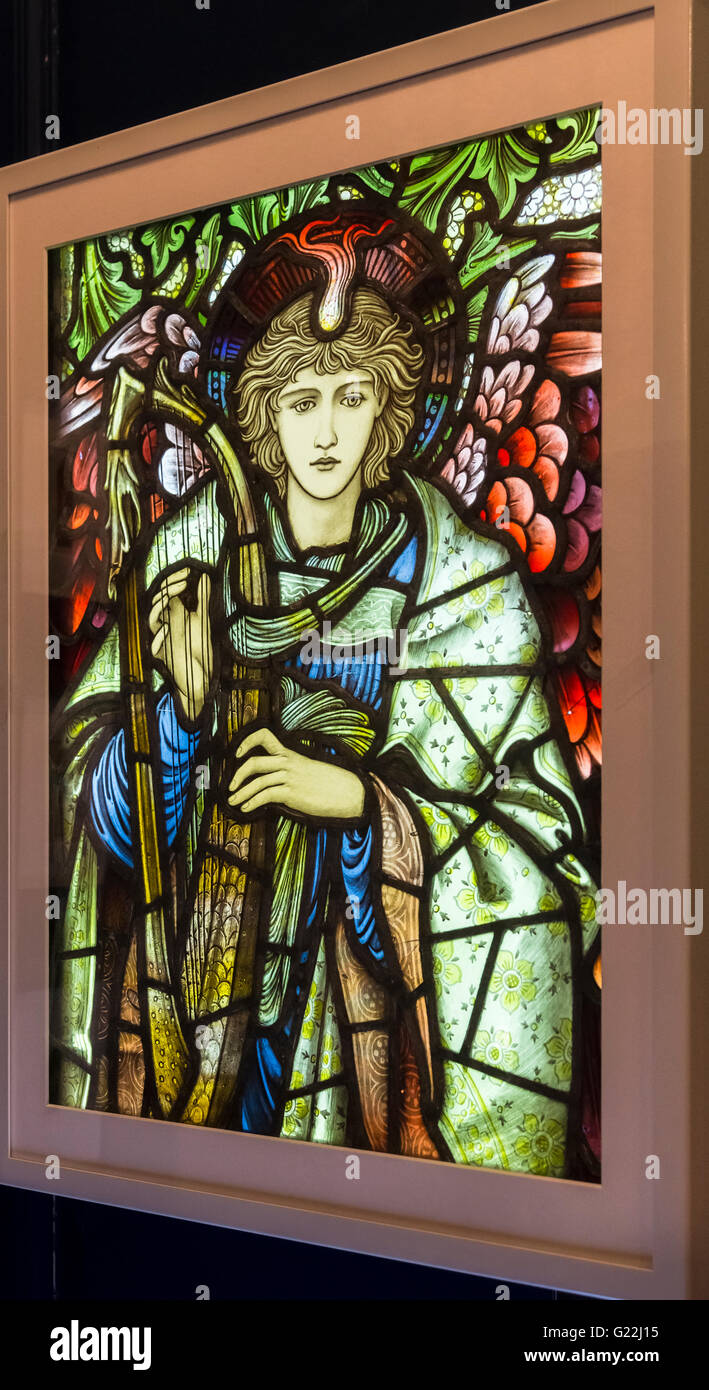 Praising Angel stained glass, Edward Burne-Jones, an exhibit in the William Morris Gallery, Water House, Walthamstow, - Stock Image
