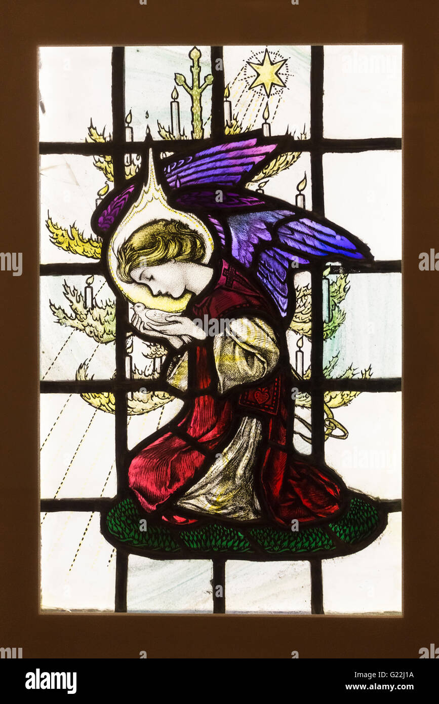 Angel with Dove stained glass, and exhibit in the William Morris Gallery, Walthamstow, north London, E17 - Stock Image