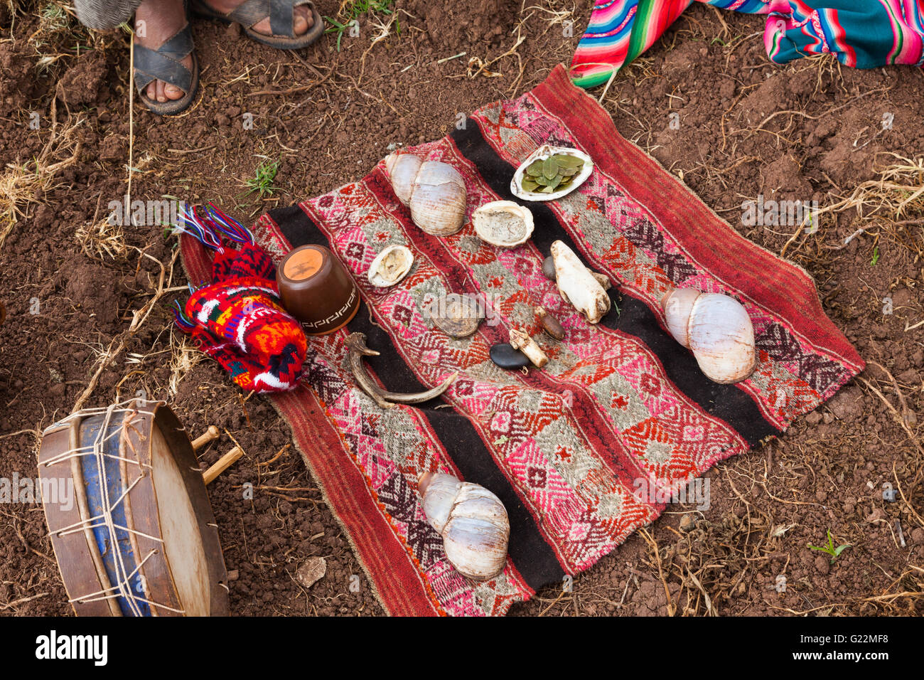 Ceremonial blanket for the ritual to thank Pachamama for a good harvest - Stock Image