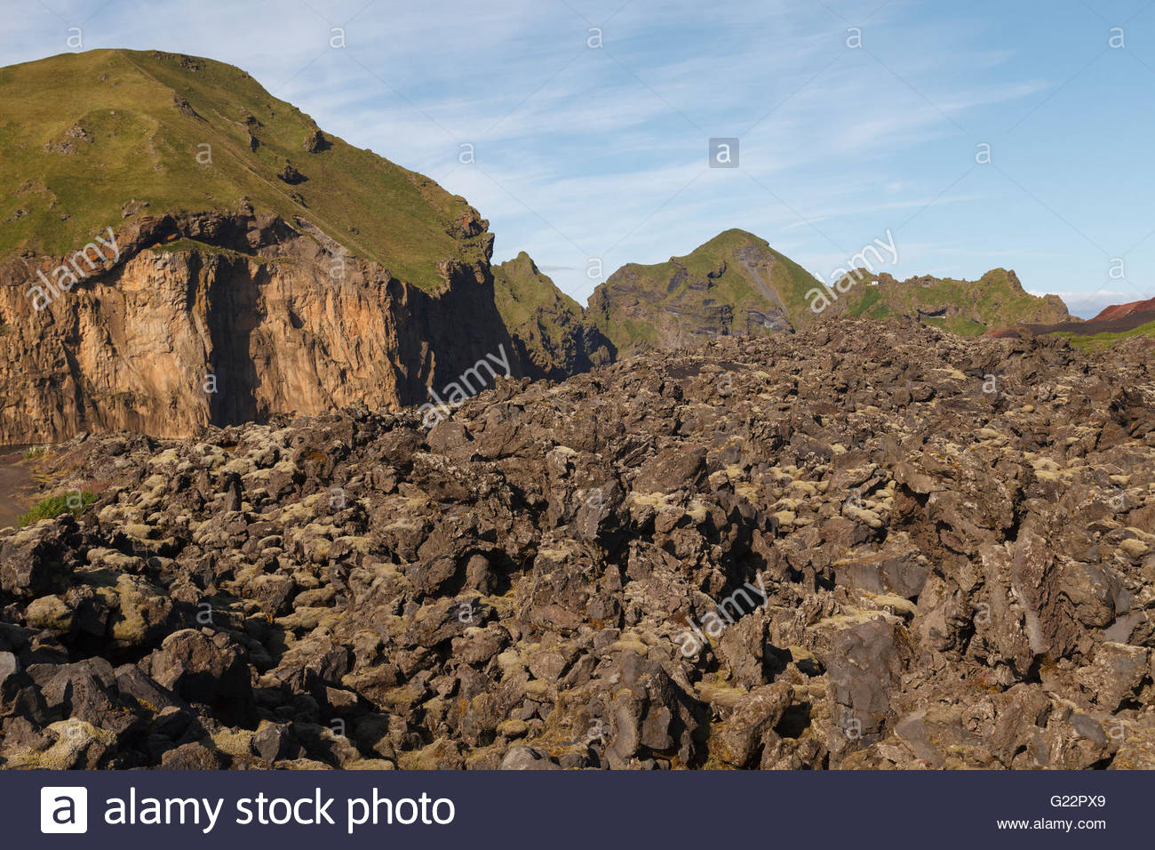 The lava field that was formed in the 1973 eruption of the volcano Eldfell and that covered one fifth of the town - Stock Image