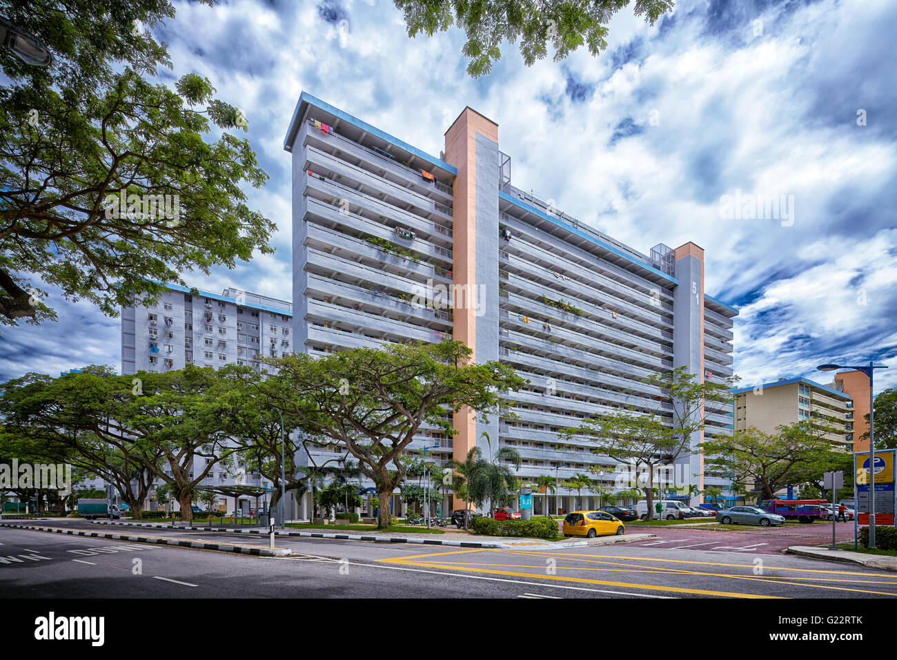 An HDB public housing estate in Singapore on July 12, 2012. - Stock Image
