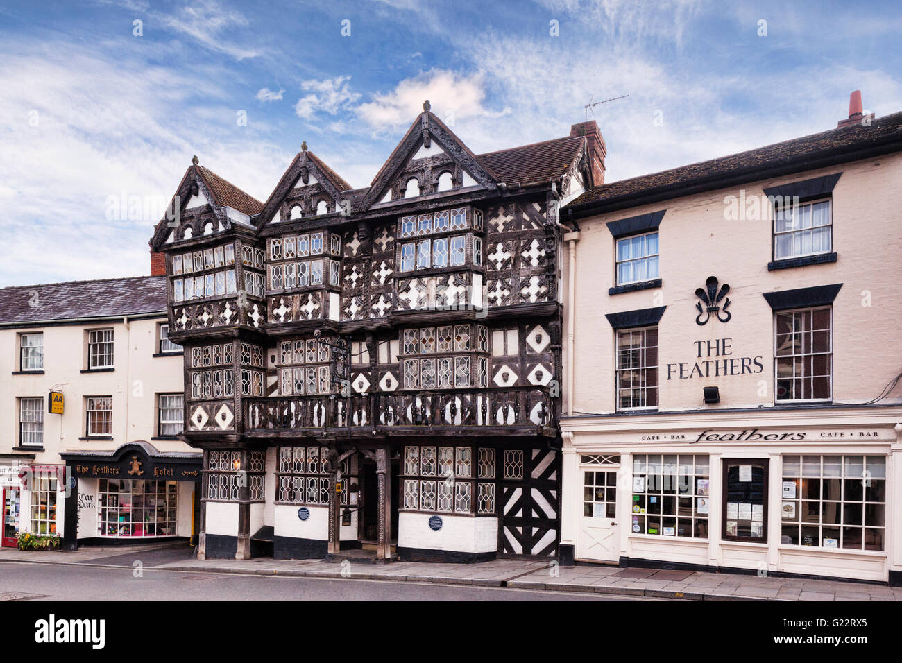 The Feathers Hotel, an ornate, Grade 1 listed, Tudor style building in Ludlow, Shropshire, England, UK - Stock Image