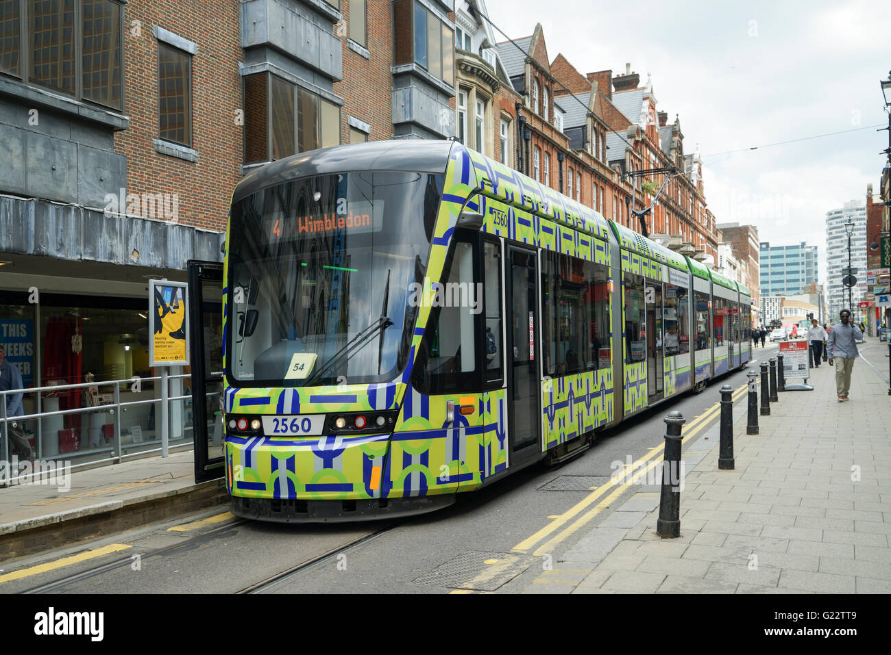 Croydon Variobahn Tram at George Street Stop in 'Unwrapping' Livery -1 - Stock Image