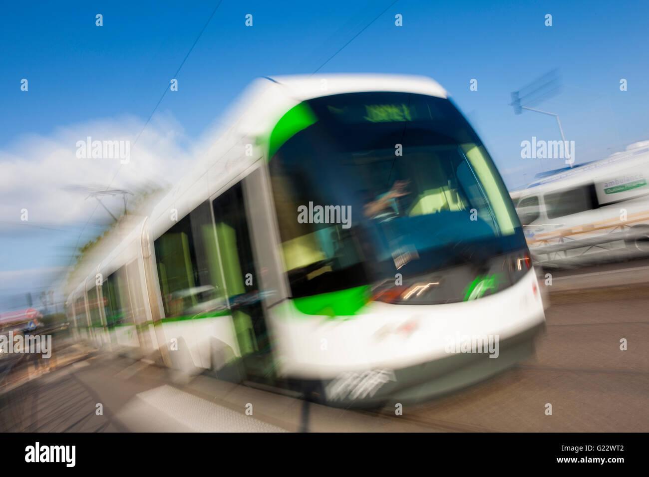 Nantes Metropole Trams,  Nantes, Pays de la Loire, France - Stock Image