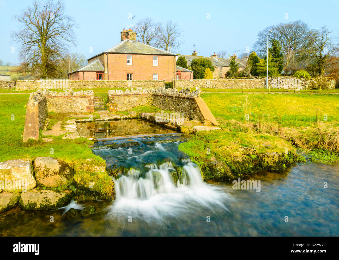 Natural spring known as St Helen's Well, Great Asby, Cumbria (shown as St Thomas's Well on some maps) - Stock Image