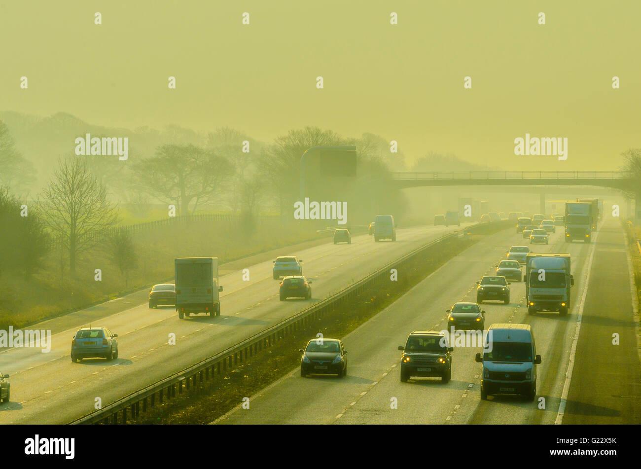 Misty morning on the M6 motorway near Garstang Lancashire Stock Photo
