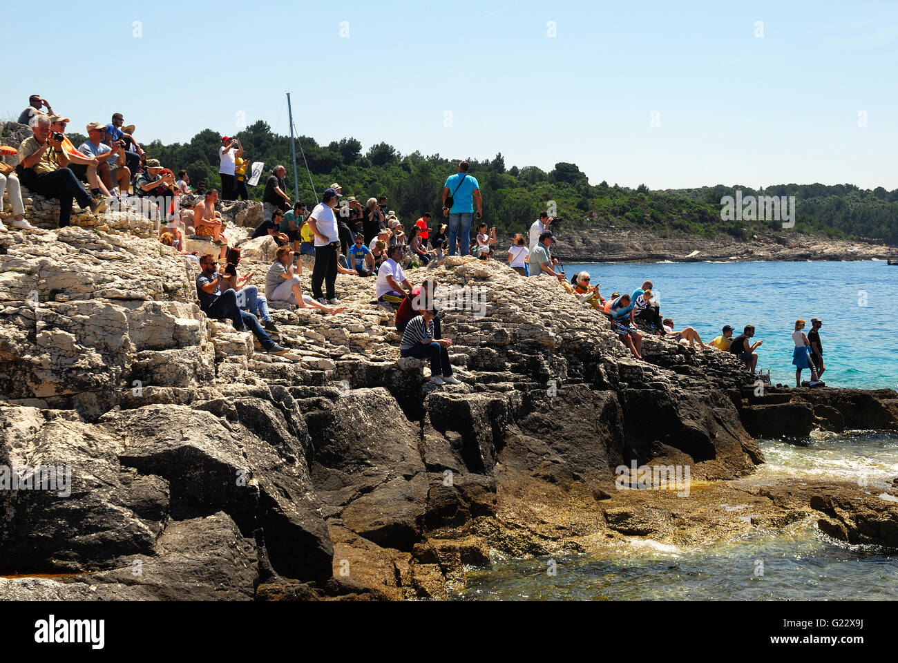 Premantura, Croatia, May 22nd, 2016. hundreds of people attend today's unusual event from the sea-shore. the - Stock Image