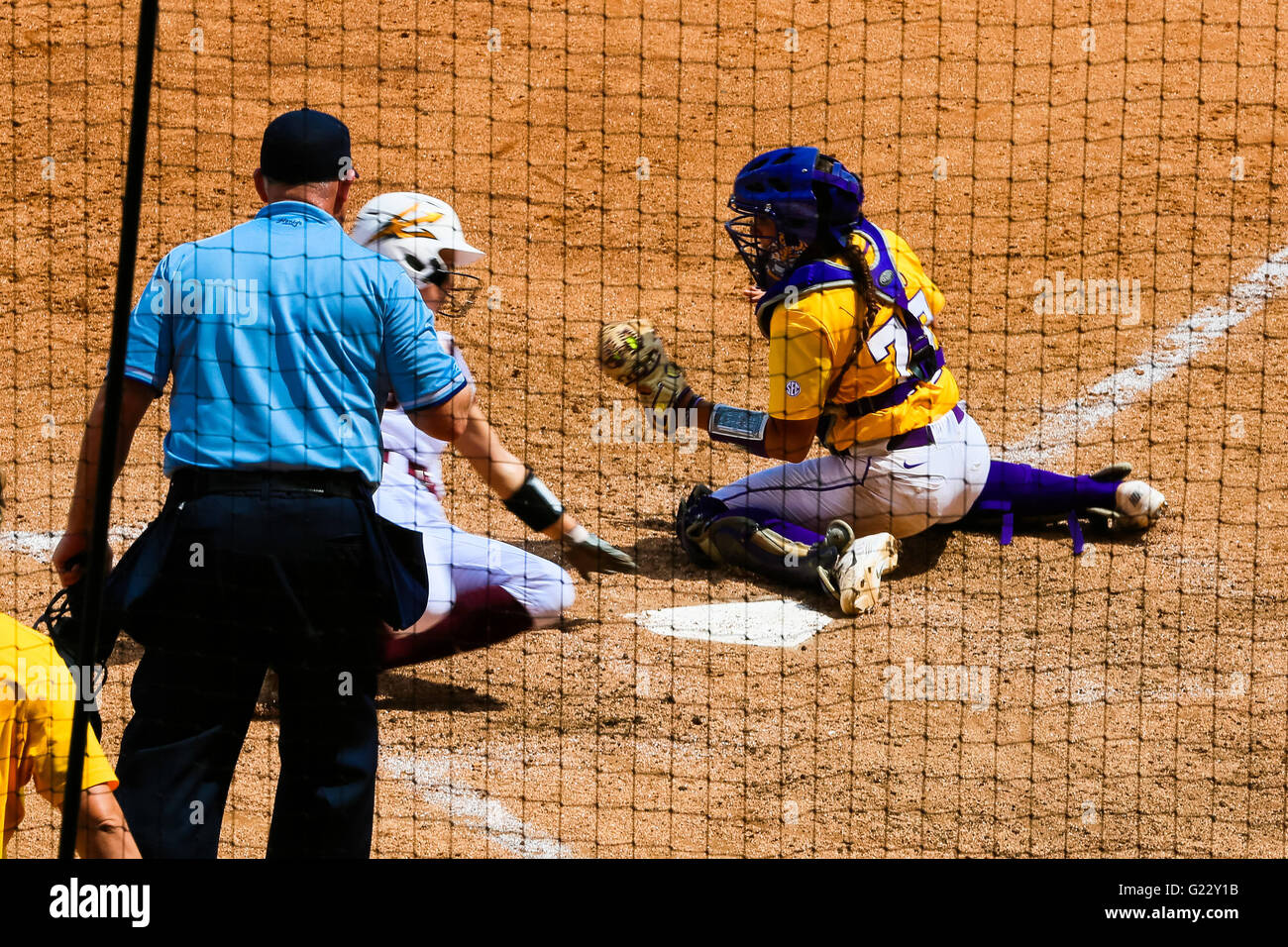 Baton Rouge, LA, USA. 22nd May, 2016. Arizona State outfielder Abby Spiel (3) touches the plate with her hand and - Stock Image