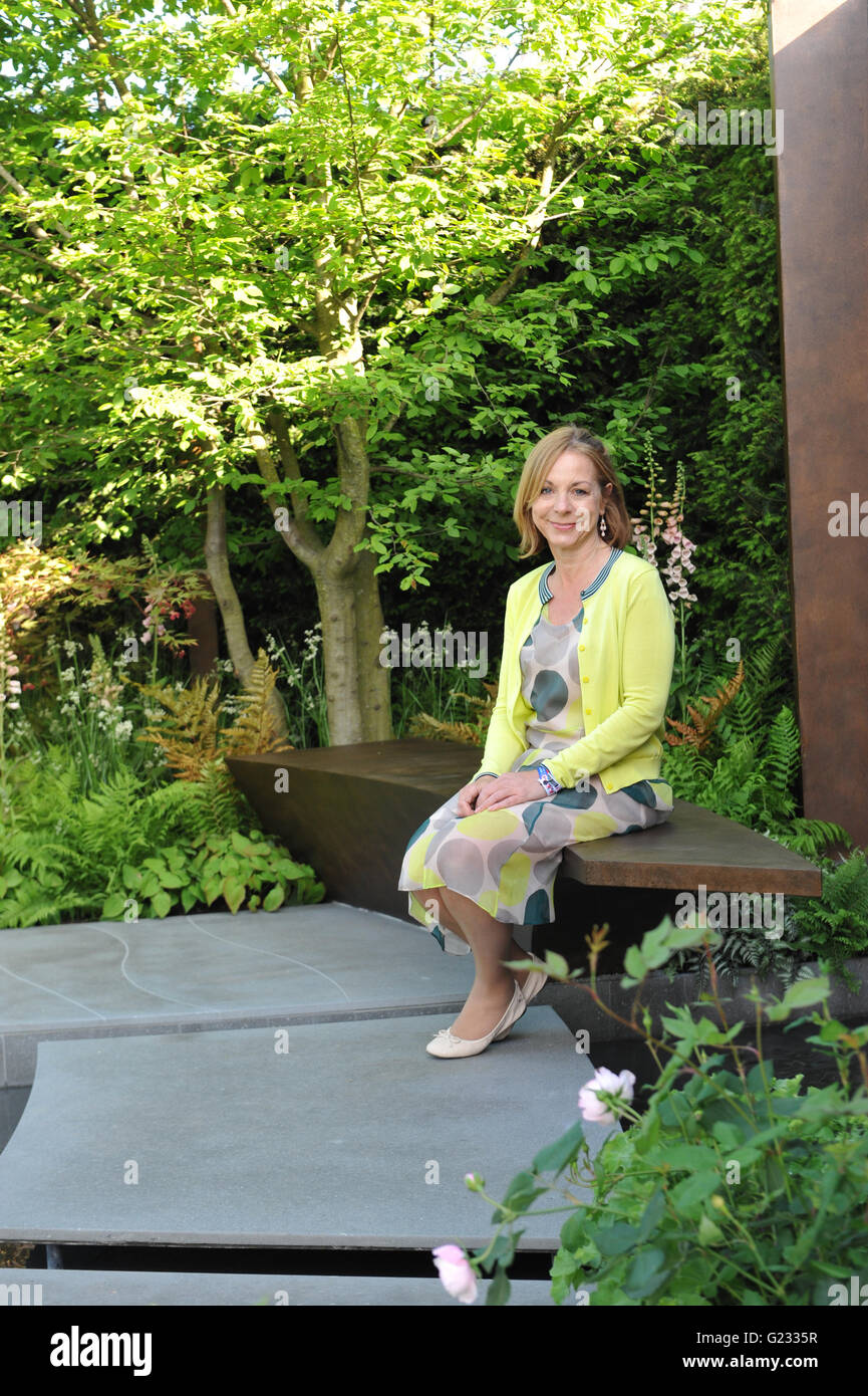London, UK. 23rd May, 2016. Jo Thompson, the Designer of the Chelsea Barracks Garden, one of the 17 beautiful and Stock Photo