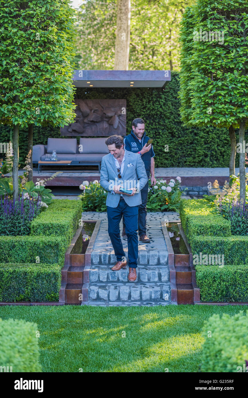 London, UK. 23rd May, 2016. The Support Husqvarna Garden given a final inspection by designer Charlie Albone. Credit: - Stock Image