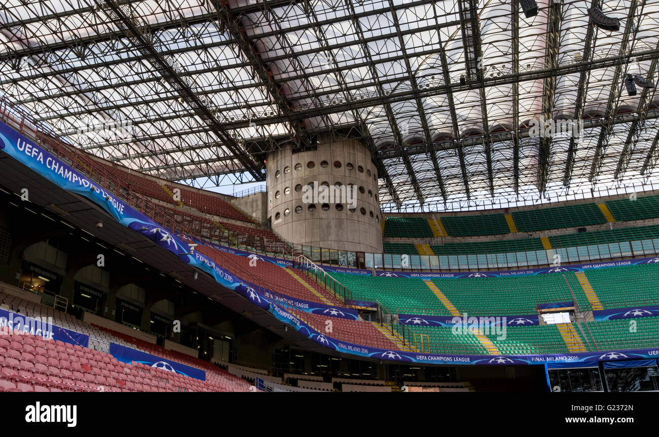 Milan, Italy. 23 may, 2016: Giuseppe Meazza stadium (also known as San Siro) will host the Champions League final Stock Photo