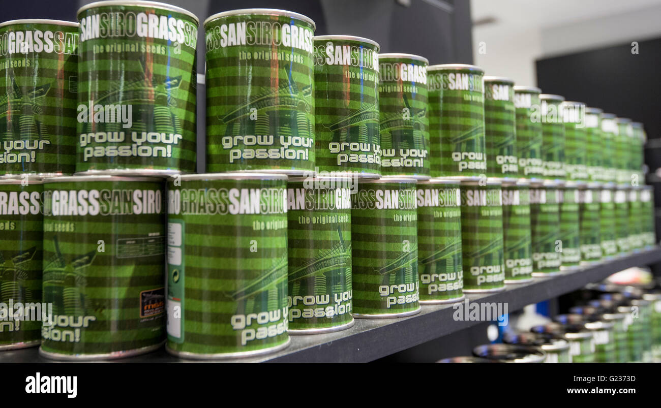 Milan, Italy. 23 may, 2016: The store of Giuseppe Meazza Stadium (also known as San Siro). in the pic: the seeds Stock Photo