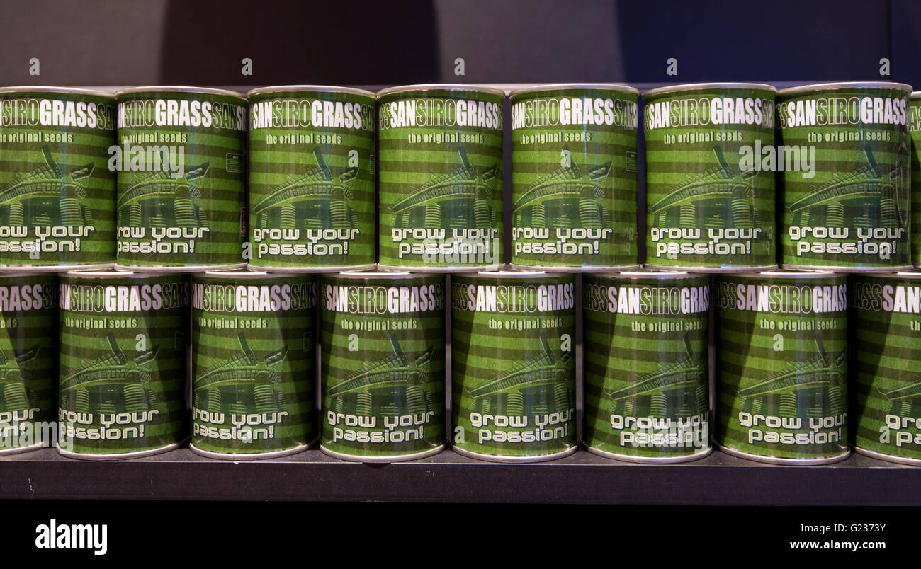 Milan, Italy. 23 may, 2016: The store of Giuseppe Meazza Stadium (also known as San Siro). in the pic: the seeds of the grass of the pitch Stock Photo