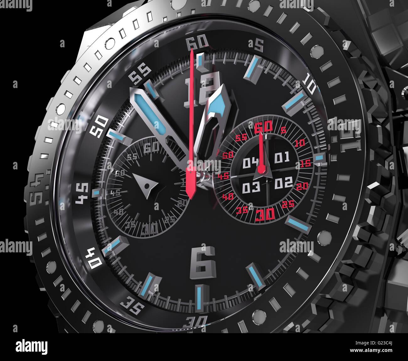 Chronograph dial, wristwatch macro. My own watch design . - Stock Image